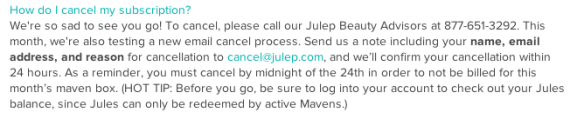Julep's New Email Cancellation Policy