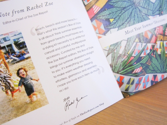 Rachel Zoe Box of Style Summer 2015 Review