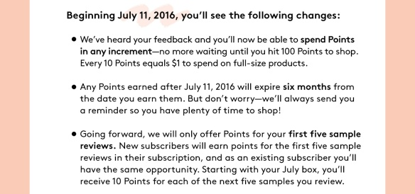 Change in Birchbox Points Effective July 2016