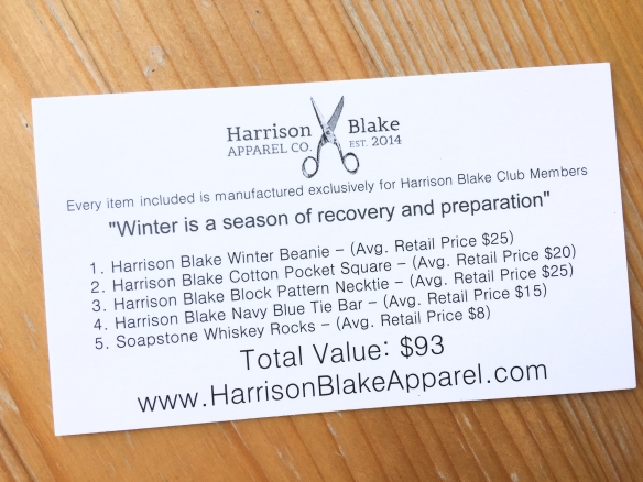 Harrison Blake Apparel Subscription February 2017 Box Review plus Promo Code!